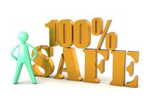 100% safe lettering and cartoon man Royalty Free Stock Photography