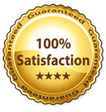 100% satisfaction. Golden label vector Stock Image