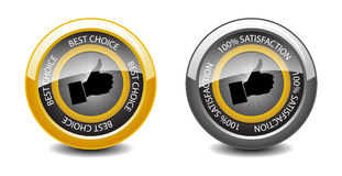 100% satisfaction glossy buttons Stock Image