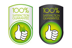 100 satisfaction guarantee. Green 100 satisfaction guarantee with thumb up over white background. vector Stock Image