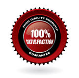 100% satisfaction guarantee emblem with ref. Lection vector illustration