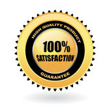 100% satisfaction guarantee  gold emblem. 100% satisfaction guarantee gold emblem Royalty Free Stock Image
