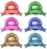 100% Satisfaction Guaranteed. Set. A variety of different colour guarantee badges Vector Illustration