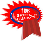 100% satisfaction guaranteed. Vector art of a 100% satisfaction guaranteed rosette Vector Illustration