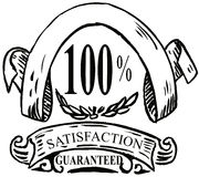 100% satisfaction guaranteed. Vector art of a 100% satisfaction guaranteed icon isolated on white background Stock Illustration