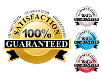 100% Satisfaction Guaranteed Icons Set. Choose from a colorful set of 100% satisfaction guaranteed icons for your business. The colors are gold, silver, blue and Royalty Free Stock Photography
