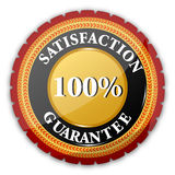 100% satisfaction  guaranteed logo. Illustration of 100% satisfaction  guaranteed logo on white background Royalty Free Stock Images