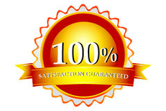 100% satisfaction guaranteed logo. Illustration of 100% satisfaction guaranteed logo on white background Stock Illustration