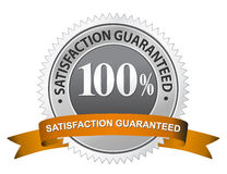 100% Satisfaction Guaranteed Sign. Metal label Vector Illustration