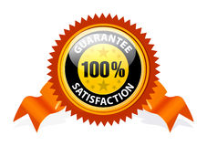 100% Satisfaction Guaranteed Sign. With ribbon on white background Vector Illustration