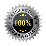 100% satisfaction guaranteed label. Metallic 100% satisfaction guaranteed label (vector Royalty Free Stock Images