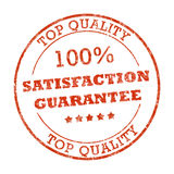 100% satisfaction rubber stamp. Top quality red rubber stamp Royalty Free Stock Photos