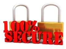 100% Secure. An illustration of a 100% secure red stencil lettering and two pad locks on a white  background Stock Image
