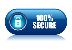 100 secure button. On white background royalty free illustration