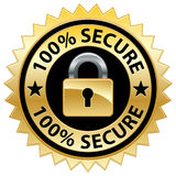 100% Secure Website Seal. An illustration of a gold seal promoting online security stock illustration