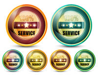 100% Service. Colorful 100% Service Button Set on white background vector illustration