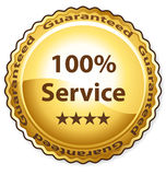 100% Service. Guarantee vector label Stock Photo