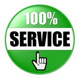 100% service button. A 100% service button isolated on a white background stock illustration