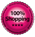100% shopping. Certificate vector label Stock Photo