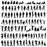 100 silhouetten vector illustratie