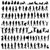 100 silhouettes. One hundred male and female silhouettes Royalty Free Stock Image
