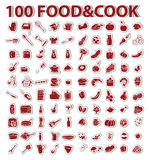 100 stickers set food and cook. 100 backgrounds stickers with design set element theme food and cooking Stock Images
