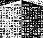 100 svartvita rengöringsduk- och applikationsymboler Fotografering för Bildbyråer