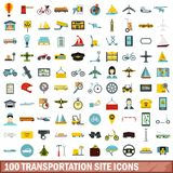 100 Transportation Site Icons Set, Flat Style Stock Photo