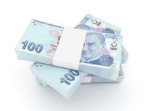 100 Turkish lira. Bills 3d rendered Vector Illustration