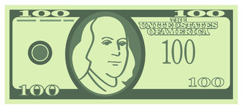 100 U.S. Dollars Banknote (Vector). Vector illustration on white background - 100 U.S. Dollars Stock Photos