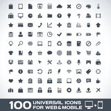 100 Universal Icons For Web and Mobile. Vector Icons For Web and Mobile Royalty Free Stock Image