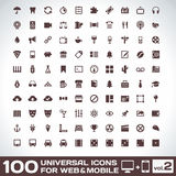 100 Universal Icons For Web and Mobile volume 2. Vector Icons For Web and Mobile Stock Photography