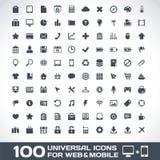 100 universella symboler för rengöringsduk och mobil Royaltyfri Bild