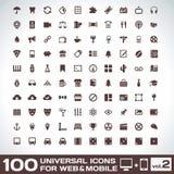 100 universella symboler för rengöringsduk- och mobilvolym 2 Arkivbild