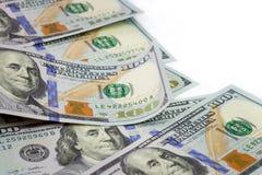 100 US dollar. Close up macro image of 100 US dollar over white background Royalty Free Stock Photo