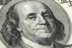100 US Dollar banknote. Close-up of a 100 US Dollar banknote with Benjamin Franklin Stock Photo