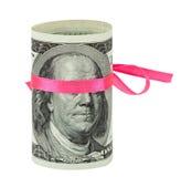 100 US-Dollar eingewickelt durch Farbband Lizenzfreies Stockfoto