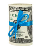 100 US dollar wrapped by ribbon. Isolated on white background Royalty Free Stock Photos