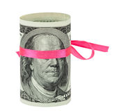 100 US dollar wrapped by ribbon Royalty Free Stock Photo