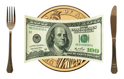 100 US dollars on gold dollar plate, table set.  Stock Photography