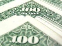 100 van het voorraadaandelen certificaat Stock Afbeeldingen
