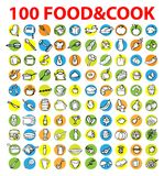 100 vector food & cook icons. Emblem, tag set. background with design set element theme food and cooking royalty free illustration
