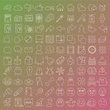 100 vector geplaatste lijnpictogrammen Stock Fotografie