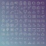 100 vector geplaatste lijnpictogrammen Stock Afbeelding
