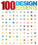 100 Vector logo and design elements. For your business artwork Royalty Free Stock Photography