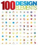 100 vectorembleem en ontwerpelementen Royalty-vrije Stock Fotografie