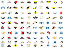 100 vectoremblemen en elementen Royalty-vrije Stock Foto