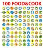 100 vectorvoedsel & kokpictogrammen Stock Afbeeldingen