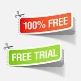100% vrije en vrije proefetiketten Royalty-vrije Stock Afbeelding