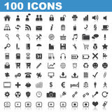 100 Web Icons. Isolated on white